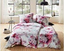 Moderne Mako Satin Blumen Bettwäsche rosa türkis
