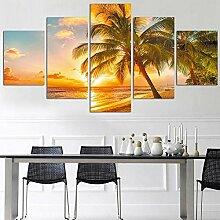Moderne Malerei Leinwand 5 Panels Sunset Sea Wave