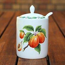 Moderne Marmeladendose und Löffel, Aprico