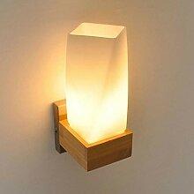 Moderne Massivholz-Wandlampe E27 einfache Eiche
