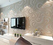 Moderne Minimalist Abstrakt Kurven Glitzer Vliestapete 3D-Tapete Beflockung Wallcoverings für Schlafzimmer Wohnzimmer TV Hintergrund Tapete 53cm x 10m (5.3m²), Weiß
