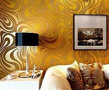 Moderne Minimalist Abstrakt Kurven Glitzer Vliestapete 3D-Tapete Beflockung Wallcoverings für Schlafzimmer Wohnzimmer TV Hintergrund Tapete 53cm x 10m (5.3m²), gold