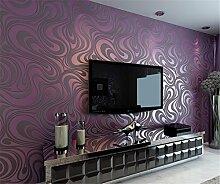 Moderne Minimalist Abstrakt Kurven Glitzer Vliestapete 3D-Tapete Beflockung Wallcoverings für Schlafzimmer Wohnzimmer TV Hintergrund Tapete 53cm x 10m (5.3m²), viole