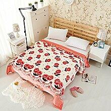 moderne minimalistische Stil Blumen/Blumen Gestreift Polyester dicker Sofadecken-E 200x230cm(79x91inch)