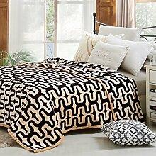 moderne minimalistische Stil Blumen/Blumen Gestreift Polyester dicker Sofadecken-E 180x200cm(71x79inch)