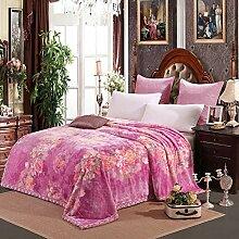 moderne minimalistische Stil Blumen/Blumen Gestreift [verdicken] Doppelschicht Polyester Sofadecken-O 200x230cm(79x91inch)