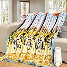 moderne minimalistische Stil Blumen/Blumen Gestreift [verdicken] Doppelschicht Polyester Sofadecken-H 180x200cm(71x79inch)