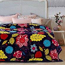 moderne minimalistische Stil Blumen/Blumen Gestreift [verdicken] Doppelschicht Polyester Sofadecken-D 200x230cm(79x91inch)