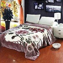 moderne minimalistische Stil Blumen/Blumen Polyester dicker Doppelschicht Sofadecken-A 200x230cm(79x91inch)