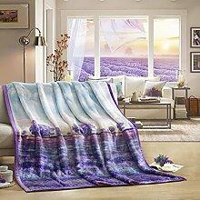 moderne minimalistische Stil Blumen/Blumen [verdicken] Doppelschicht Polyester Sofadecken-C 200x230cm(79x91inch)