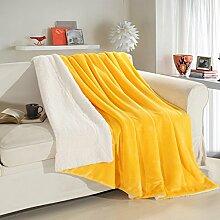 moderne minimalistische Stil Einfarbig dicker Doppelschicht Polyester Sofadecken-A 200x230cm(79x91inch)