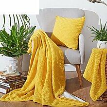 moderne minimalistische Stil Einfarbig [Stricken] dicker 100% Baumwolle Sofadecken-B 130x150cm(51x59inch)