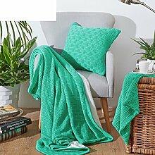 moderne minimalistische Stil Einfarbig [Stricken] dicker 100% Baumwolle Sofadecken-A 130x150cm(51x59inch)