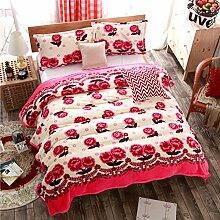 moderne minimalistische Stil Gestreift Blumen/Blumen [verdicken] Doppelschicht Polyester Sofadecken-A 180x200cm(71x79inch)