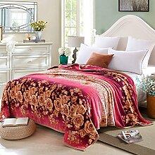 moderne minimalistische Stil Gestreift Blumen/Blumen [verdicken] Doppelschicht Polyester Sofadecken-G 180x200cm(71x79inch)