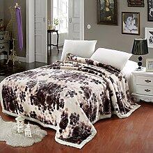 moderne minimalistische Stil Gestreift Blumen/Blumen [verdicken] Doppelschicht Polyester Sofadecken-E 200x230cm(79x91inch)