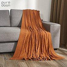 moderne minimalistische Stil [Stricken] Einfarbig 100% Baumwolle Sofadecken-A 180x200cm(71x79inch)