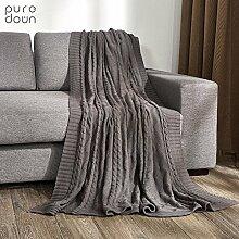 moderne minimalistische Stil [Stricken] Einfarbig 100% Baumwolle Sofadecken-B 180x200cm(71x79inch)