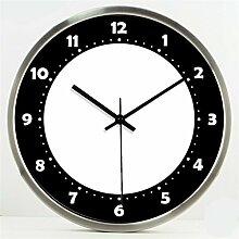Moderne Mode Kreativ Einfache Kreis Schwarz und Weiß Wohnzimmer Schlafzimmer Dekoration Wanduhr Dämpfer Glasuhr by Home Déco Outlet ( Farbe : Silber , größe : 14 Inches )