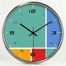 Moderne Mode Kreative Einfache Persönlichkeit Wohnzimmer Schlafzimmer Dekoration Wanduhr Stumm Glasuhr by Home Déco Outlet ( Farbe : Silber , größe : 14 Inches )