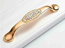 Moderne Mode-Kristall Griff ziehen Fach Kleiderschrank Schrank Türknauf gold verziert Griff,Gold- und Bohrer, 13cm