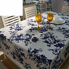 Moderne Mode Tischdecke/Stoff Rechteck Tischdecke/Druckerei Und F?rberei Blaue Und Wei?e Tischdecke-A 60x60cm(24x24inch)