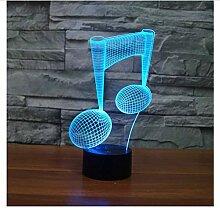 Moderne Musik Note Led Musik 3D Lampe Nachtlicht