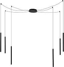 Moderne Pendelleuchte schwarz mit 6 Lichtquellen
