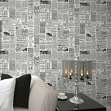 Moderne PVC Nostalgische Zeitung Wallpaper Print Wallpaper, Home Decor Wallpaper für Wohnzimmer, Schlafzimmer und TV , 2