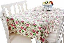 Moderne PVC-wasserdichte Tischdecke Tischmatte Rose Blumen (137 * 220cm)