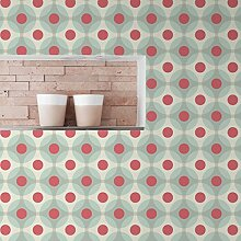 "Moderne Retro Tapete ""Flower Dots"" mit"