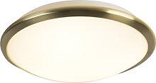 Moderne runde Deckenleuchte gold mit Glas inkl.