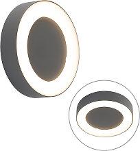 Moderne runde Wandlampe dunkelgrau inkl. LED -
