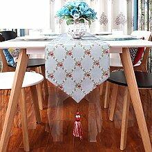 Moderne Schlichtheit Stickerei Tischfahne,Coffee Table Zu Hause,Bett-runner-A 32x240cm(13x94inch)