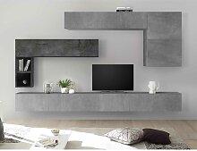 Moderne Schrankwand in Beton Grau und Dunkelgrau
