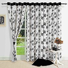 Moderne Schwarzweiss-Baumwolle Fenster Gardinen-54 x 60 Zoll-Set 2- Spiro Geometric mit schwarzem Rand