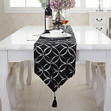 Moderne Silber Kreis schwarzer Quaste Tischläufer