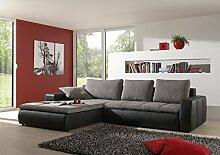 """Moderne Sofa-Garnitur """"Belessa"""" mit Bettfunktion Hochwertige & robuste 3-Sitzer Wohnlandschaft in grau / schwarz – auch als Schlafsofa verwendbar. Farbwünsche der Couch auf Anfrage realisierbar."""