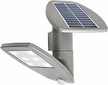 Moderne Solarlampe in silber grau 0,4W Wandlampe