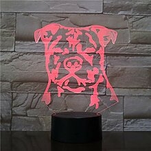Moderne Staffordshire 3D Bulldog LED Nachtlicht