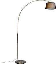 Moderne Stahlbogenlampe mit schwarzem Stoffschirm