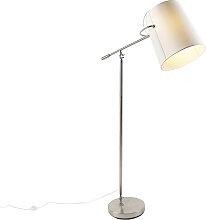 Moderne Stehlampe aus Stahl mit weißem Schirm -