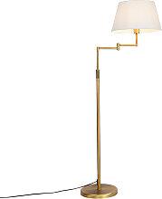 Moderne Stehlampe Bronze mit weißem Schirm und