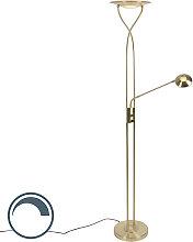 Moderne Stehlampe Gold inkl. LED mit Lesearm -