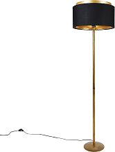 Moderne Stehlampe Gold mit Schirm Schwarz mit Gold