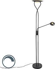 Moderne Stehlampe schwarz inkl. LED mit Lesearm -