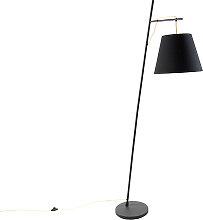Moderne Stehlampe schwarz mit Schirm schwarz und