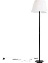 Moderne Stehlampe schwarz mit weißem Faltenschirm