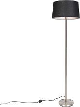 Moderne Stehlampe Stahl mit schwarzem Schirm 45 cm