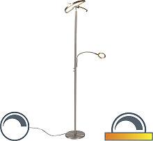 Moderne Stehleuchte Stahl mit Leselampe inkl. LED